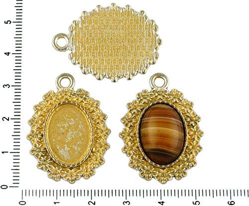 2pcs Czech Matte Gold Patina Antique Silver Tone Oval Pendant Bezel Cabochon Settings Blank Tray Metal Base Fit Cameo 13mm x 18mm ()