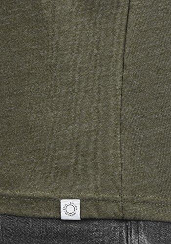 Camiseta Larga Para Manga De 8797 Green Ivy Básico solid Melange Hombre fZAOwqUOx