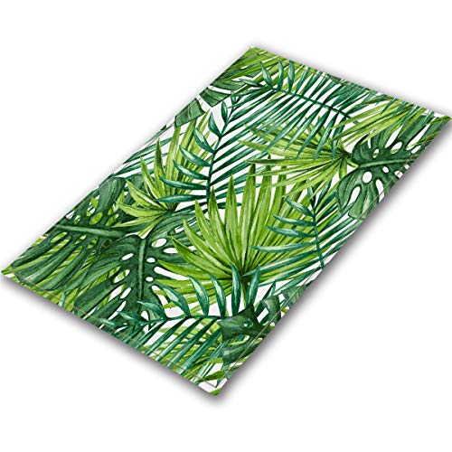 Watercolor Tropical Leaves Area Rugs Palm Leaves Monstera Memory Foam Washable Indoor Outdoor Rugs Living Room Study Room Bedroom Carpet Suitable for Kids Playroom Play Mat Nursery Rugs, 5'3'' X4'