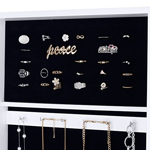 -[ LANGRIA Free Standing Lockable Full Length Mirrored Jewellery Cabinet Armoire with 4 Angle Adjus