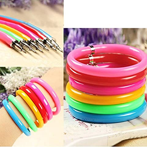 GOODCULLER 5pcs Novelty plastic Colorful Bangle Bracelet Wristlet Circlet blue Ball Point Pen for Art, Crafts, Office & School Supplies and More