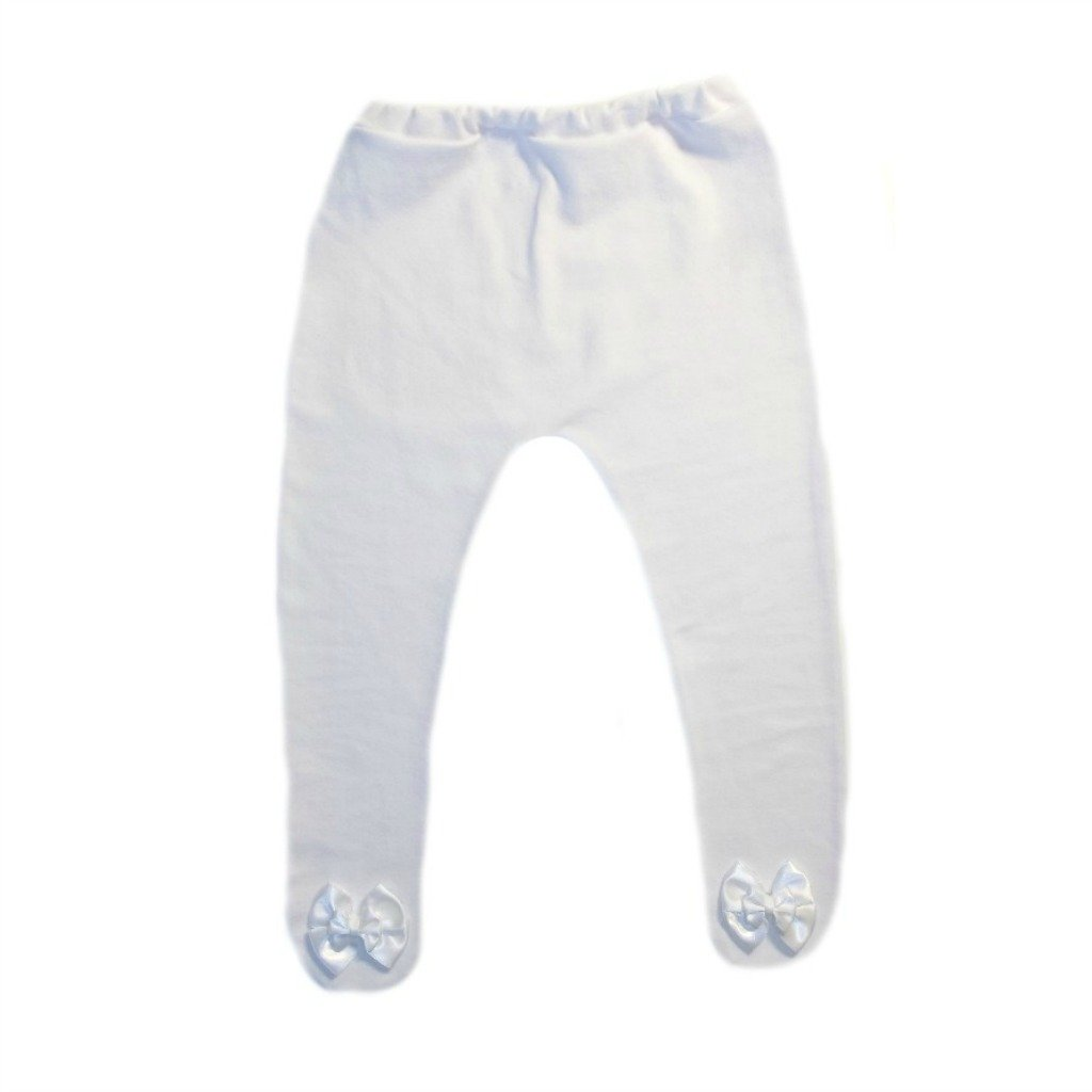 Jacquis Baby Girls White Tights with White Double Bows