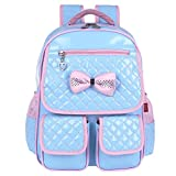 EURO SKY Princess Children School Backpack for Girls Students PU Leather Blue