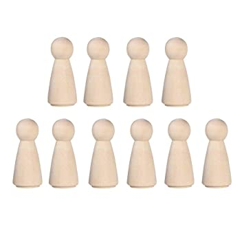 10 Pieces 65 mm Unfinished Wooden Peg Dolls Wooden Tiny Doll Bodies People Decorations Wood Color