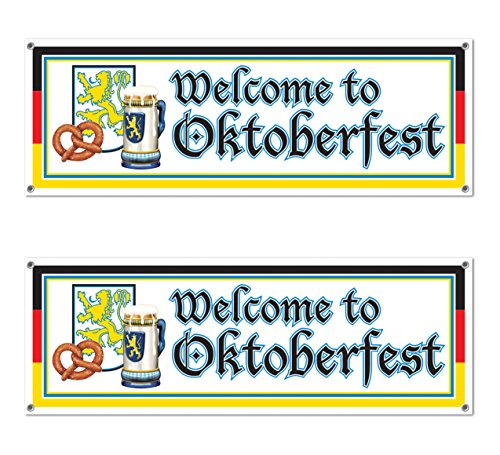 Beistle s57643az2Bienvenido a Oktoberfest Señal 2Piezas de Banner, Multicolor