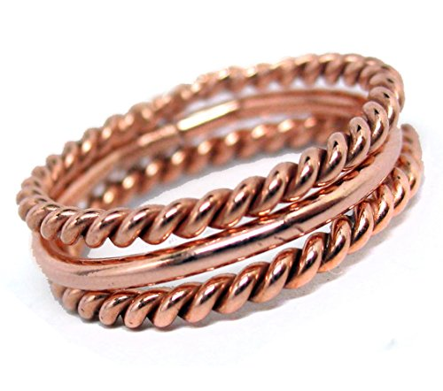 Gold Braided Circle - Bright Copper Stacking Rings, Trio of Handcrafted Stackable Rings . Size 7, Set of Three