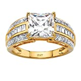 Princess-Cut and Baguette White Cubic Zirconia 10k Yellow Gold Multi-Row Engagement Ring
