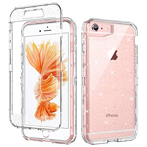 iPhone 6 Plus Case iPhone 6S Plus Case GUAGUA Glitter Bling Clear Crystal Shiny Cover for Girls Women Three Layer Hybrid Hard PC+ Soft TPU Shockproof Protective Phone Case for iPhone 6 Plus/6S Plus (Iphone 6 Plus Case Bling Crystal)