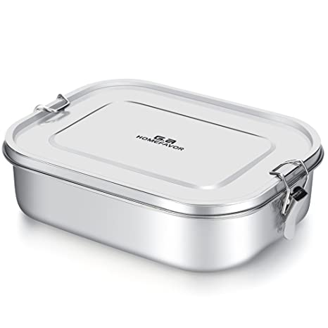 680e1c0e4b Stainless Steel Lunch Box, G.a HOMEFAVOR Metal Bento Box 1400ml Food  Container with Lock Clips