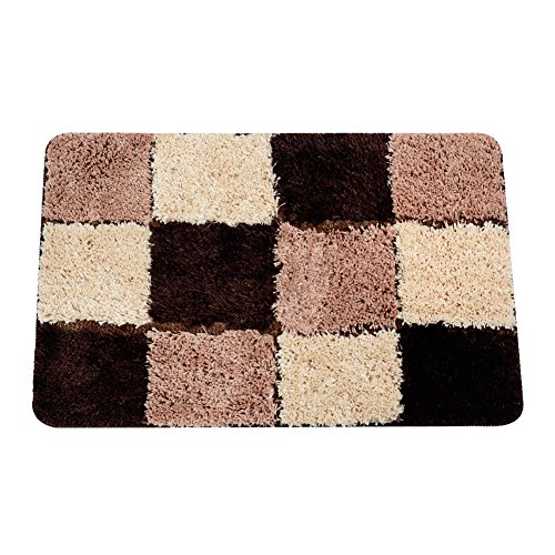 Top Finel Non Slip Bath Mats Microfiber Shaggy Bathroom Rugs Pad Absorbent Door Mats For Living Room Kitchen, 19.7 X 31.5, Brown by Top Finel
