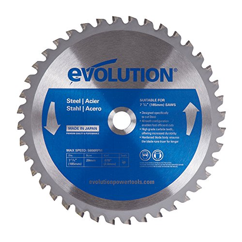 Evolution Power Tools 185BLADEST Steel Cutting Saw Blade, 7-1/4-Inch x 40-Tooth 40 Carbide Teeth Circular Saw