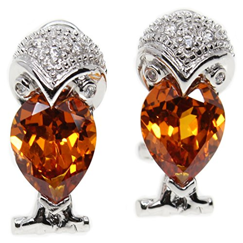 (MIU Jewellery Owl 925 Sterling Silver Omega Clips Earrings with Created Yellow Quartz)