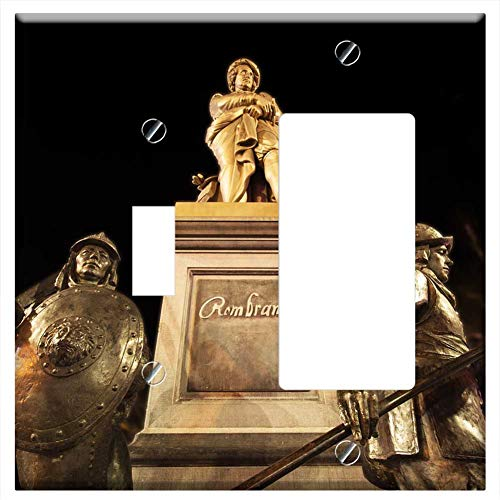 1-Toggle 1-Rocker/GFCI Combination Wall Plate Cover - Rembrandt Painter Statue Dutch Holland Famous