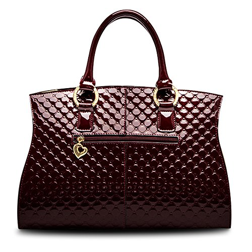 57cd85cfc7 HUOBAO Women s Patent Leather Handbags Designer Totes Purse Satchels  Shoulder Handbag Fashion Embossed Top Handle Bags