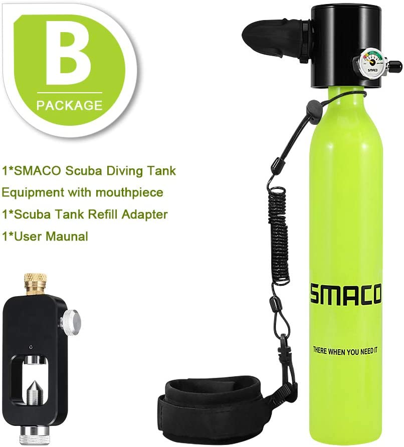 roadwi Smaco Scuba Diving Tank,Mini Scuba Cylinder Underwater Breath Device with 5-10mins Capacity Diving Oxygen Inflatable Tank Diving Gear for Emergency Backup/&Free Diver