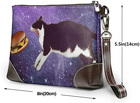 BFDX Space Cat Eating Burger Leather Wristlet Clutch Purses Bag Crossbody Clutch Wallet Sacs à Main pour Femmes