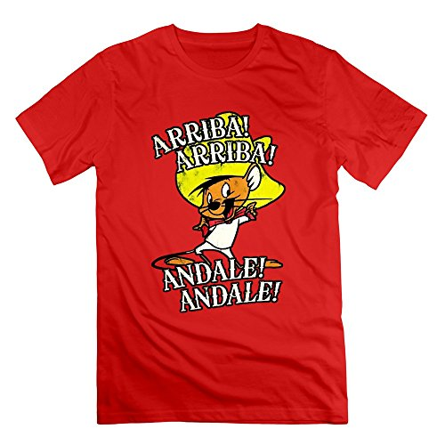 Merry Christmas Men's Speedy Gonzales ANDALE ARRIBA Cotton T Shirt Red L]()