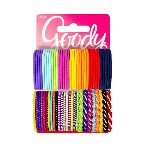 Goody 09425 Girls Ouchless Elastics in Bright Colors (60 Pieces); Perfect for Girls with Fine Hair, Curly Hair or Sensitive Scalps