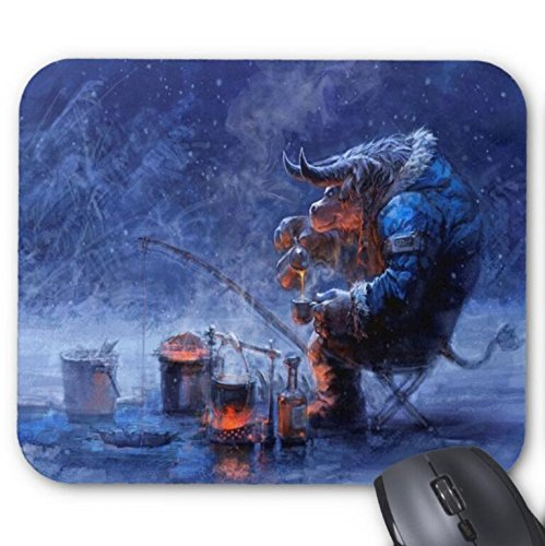 Mousepad Fantasy Fishing Snow Tauren Winter World of Warcraft Print Non-Slip Mouse Mat