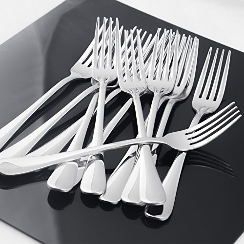 Hiware 12-piece Good Stainless Steel Dinner Forks Cutlery Set, 8 Inches by Hiware (Image #5)