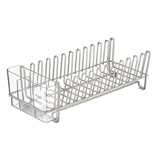 Plate Drainer (InterDesign Classico Compact Kitchen Dish Drainer Rack for Drying Glasses, Silverware, Bowls, Plates - Satin/Clear)