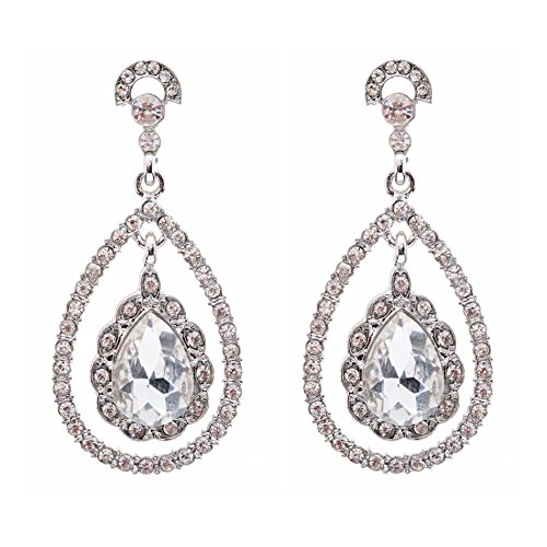 Bridal Wedding Jewelry Crystal Rhinestone Dazzle Elegant Dangle Drop Earrings SV by Accessoriesforever (Image #4)