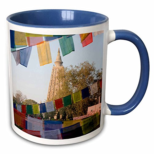 - 3dRose Danita Delimont - Flags - Bodh Gaya Temple with prayer flags. Bihar - 15oz Two-Tone Blue Mug (mug_225629_11)