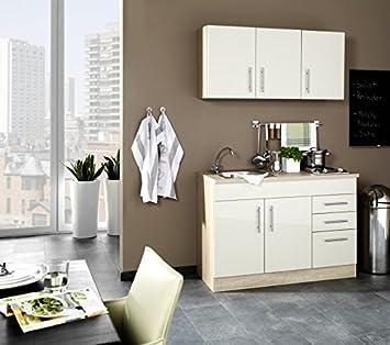 Berühmt Miniküche 120 cm Hochglanz Creme mit Geräten und Spüle - Vancouver RN76