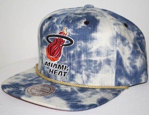 - New Mitchell & Ness Blue Acid Wash Denim Snapback Hat Cap (NBA Miami Heat)