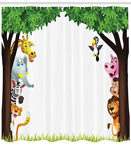 (Ambesonne Nursery Shower Curtain, Big Trees and Friendly Jungle Safari Animals Wilderness Tropical African Wildlife, Fabric Bathroom Decor Set with Hooks, 70 inches,)