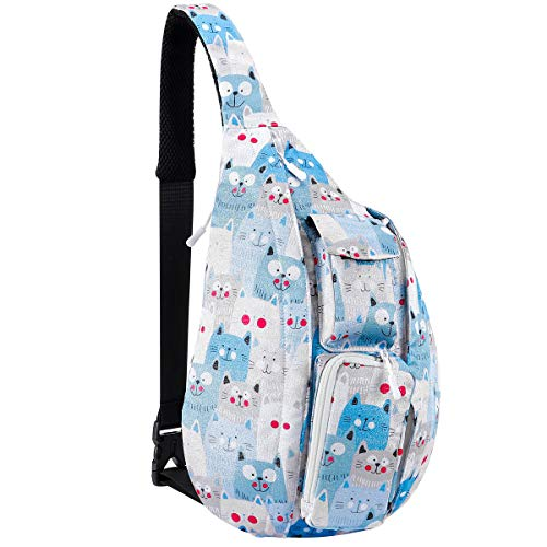 Unisex Sling Bag Travel Chest Pack Multipurpose Casual Rope Crossbody Backpack Daypack with Adjustable Shoulder Strap for Women Men Girls Boys (Cat's Meow Meow)