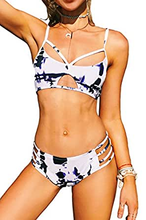 CUPSHE Fashion Women's Tie-Dyed High-Waisted Padding Bikini Set Beach Bathing Suit (S)