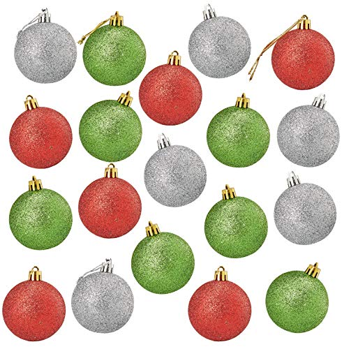 Juvale 36-Pack Christmas Tree Ornaments - Glitter Red, Green, Silver Shatterproof Medium Christmas Balls Decoration, 3 Assorted Colors, Hanging Plastic Bauble Holiday Decor, 2.3 Inches