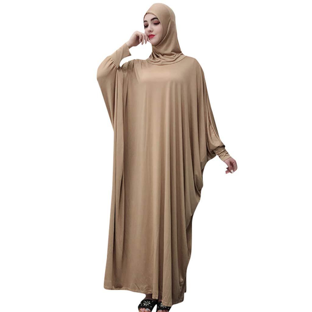 Muslim Women Solid Color Headgear Mosque bat Sleeve Robes Cardigan Ramadan Dress Gold