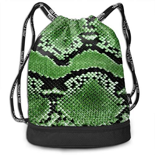 XTGOO Drawstring Backpack Green Snakeskin Print Travel Sport Yoga Gym Sack Bag Outdoor Bundle Backpack Laptop Bag Beach Rucksack for Men/Women and Kids