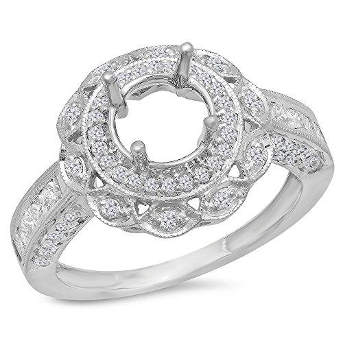 - Dazzlingrock Collection 1.00 Carat (Ctw) 14k Round Diamond Semi Mount Round Diamond Engagement Ring (No Center Stone), White Gold, Size 7.5