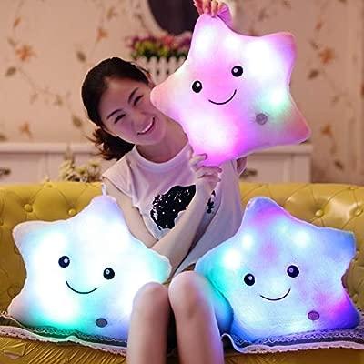 Cojin Infantil con Luces LED para Ñiños y Niñas con Forma de Estrella 29cm Luz Nocturna Variable