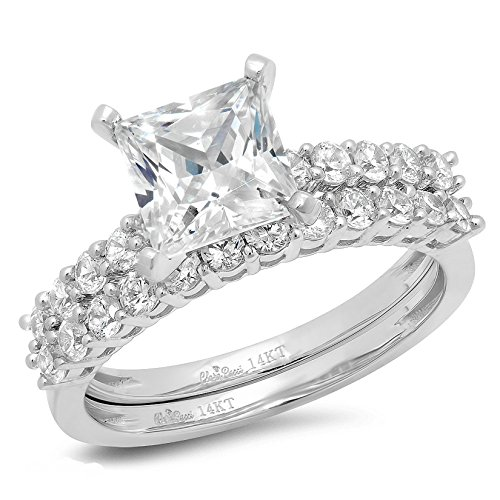 Clara Pucci 2.56ct Princess Cut Halo Bridal Engagement Wedding Ring Band Set 14k White Gold, Size 7