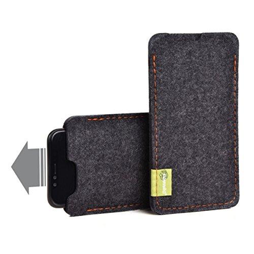 almwild Etui Custodia perfettamente adatto per iPhone 4, iPhone 4S, iPod Touch e altri, modello Sattler Schorsch con logo del marchio in pelle su feltro in ardesia–Grigio
