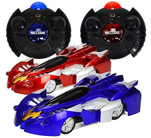 Wall Climbing Cars - Set of 2 - Red and Blue Cars Zero Gravity Remote Control Mini RC Toys - Frustration Free Packaging