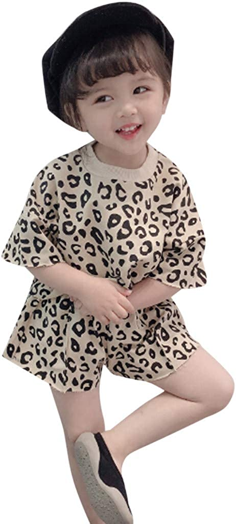 Whitegeese Toddler Kids Baby Girls Outfits Clothes Leopard T-Shirt Tops+Shorts 2PCS Set