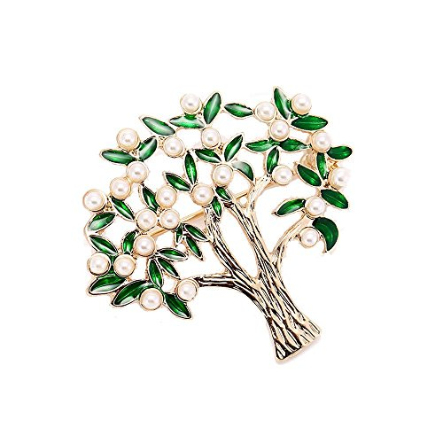 AOCHEE Enamel Coconut Palm Brooch Pin Green Leaves pearl Tree Brooch Lapel Stick Pin For Hat,Bag,Suit (#2) by AOCHEE