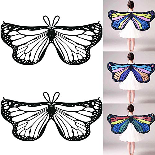 HHei_K Kids Girls Creative DIY Dress up Party Costume Self-Coloring Butterfly Cape Wings Angel Wings Chiffon Shawl -