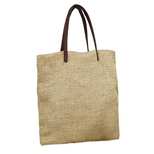 Artone Linen Casual Tote Travel Shoulder Bag Beach Handbag Beige by Artone