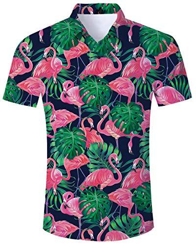 TUONROAD Boys Casual Tropical Vacation Aloha Short Sleeve Hawaiian Shirt Green Leaves Purple Pink Flamingos Big and Tall Funny Printed Pattern Summer Beach Costume Vintage Button Down Shirt - Funny Flamingo