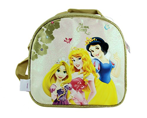 (Disney Princess Snow White, Rapunzel & Sleeping Beauty 'I'm a Real Gem' Gold Insulated Lunch Bag)