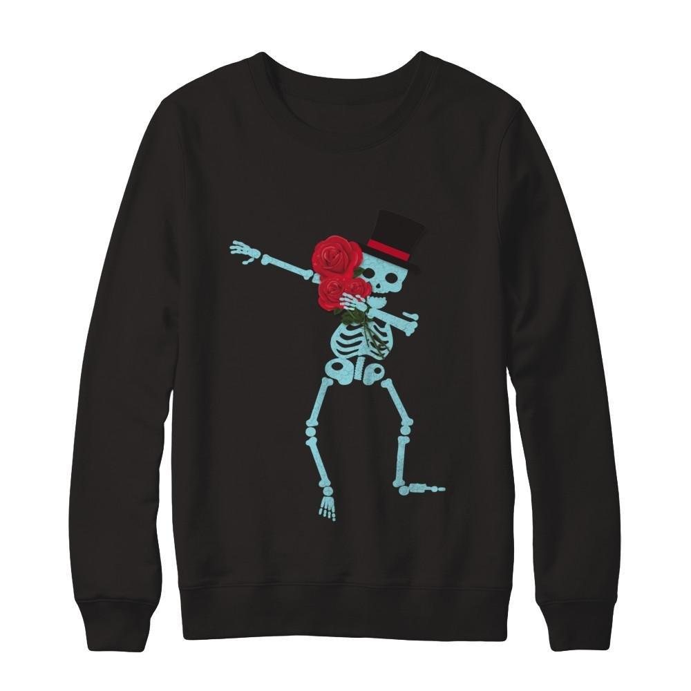 Pullover Sweatshirt Teely Shop Mens Dabbing Skeleton DAB With Flowers Gildan