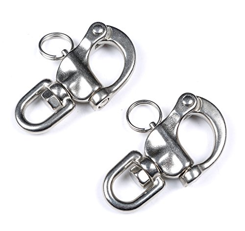 Mxeol Swivel Eye Snap Shackle Quick Release Bail Rigging Sailing Boat Marine Stainless Steel Clip Pair (2-3/4