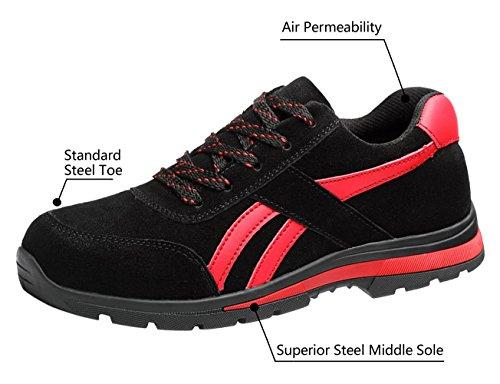 Uomo Acciaio Scarpe Scarpa Antinfortunistiche Sportive Estive Lavoro Sneaker Da Ginnastica Trekking Black01 mn0wOvN8