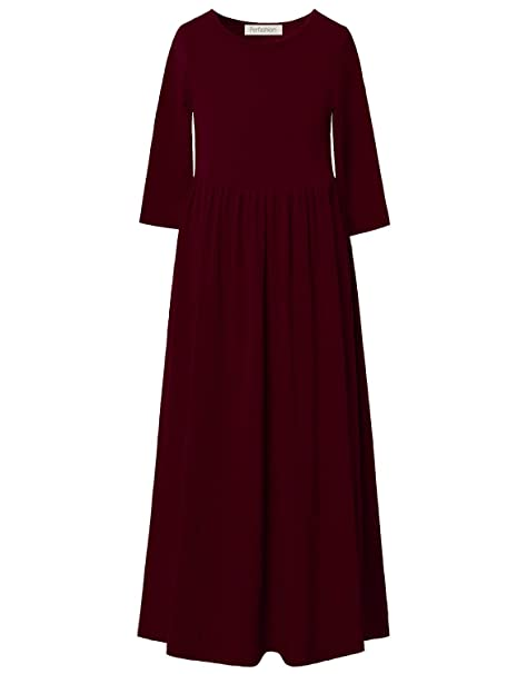 8d0a8bd95db6 Perfashion Maxi Dress with Pockets for Girls Burgundy Pleated Casual Crew  Neck Cotton Long Solid Dress